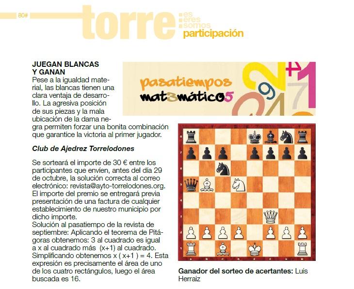 Un nuevo problema de ajedrez en la revista Torre